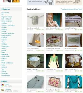 "etsy front page featuring my ""linen pendant"""