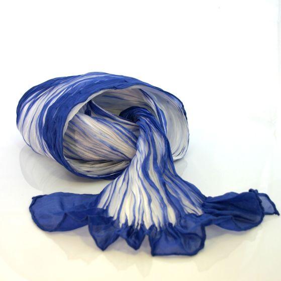 Habotai silk scarf, hand-dyed using the japanese Bomaki Shibori technique