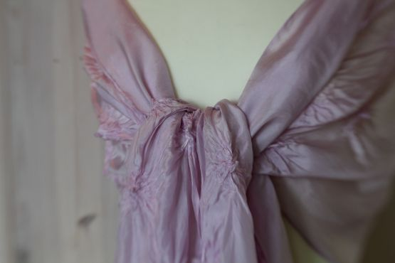 cochineal dyed shibori silk shawl