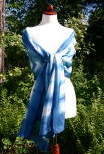 and voila! an indigo dyed shibori silk shawl