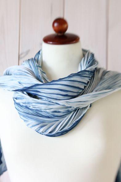 arashi shibori silk shawl - dyed with indigo