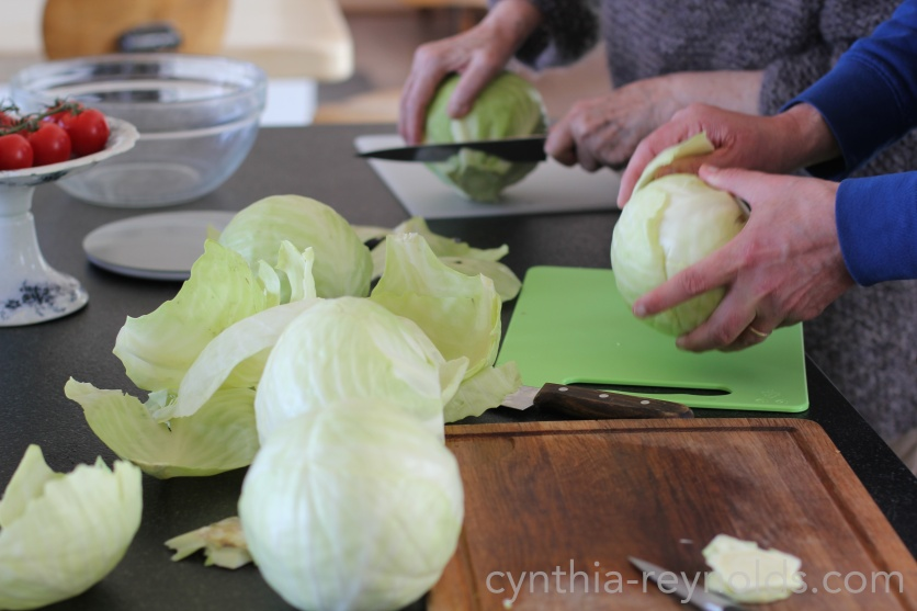 remove outer leaves and save some to cover your kraut, they will help keep the small pieces under the brine